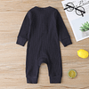 baby girl or boy navy blue cotton cardigan style ribbed buttoned all in one romper suit