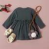 baby and toddler girl grey long sleeve ruffle detail dress