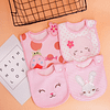 baby girls set of 4 pink bibs featuring a cat, a rabbit, a cute face and a love bug