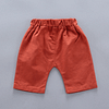 baby boys blue check short sleeve shirt and orange shorts with an owl outfit set