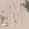 baby girls beige ruffle detail linen romper suit