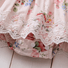 Baby and toddler girls pink floral romper dress with lace trim and flutter shoulders