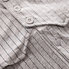 baby boys grey pinstripe 3 piece suit with white short sleeve shirt, shorts, waist coat and navy bow tie