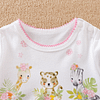 baby girls pink giraffe bear and zebra romper suit with ruffles