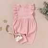 baby girls pink ruffle detail linen romper suit