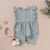 baby girls light blue ruffle detail linen romper suit