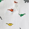boys white short sleeve polo shirt with dinosaur print