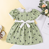 girls green gingham butterfly print dress with lace collar, cuffs and belt
