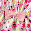 girls pink floral bow shorts playsuit with flutter sleeves