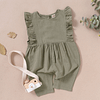 baby girls army green ruffle detail linen romper suit