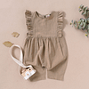 baby girls khaki green ruffle detail linen romper suit