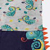 baby boys grey and navy blue chameleon print t-shirts, shorts and bib set by lily and jack