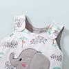 elephant safari white baby dungarees