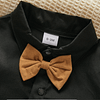 baby boys black formal short sleeve shirt and bow tie