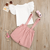 girls white top and pink pinafore skorts outfit set