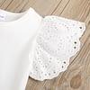 girls white embroidered flutter shoulder top