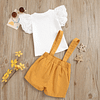 girls white top and mustard yellow pinafore skorts outfit set