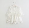 young girls dusty white long sleeve lace occasion dress