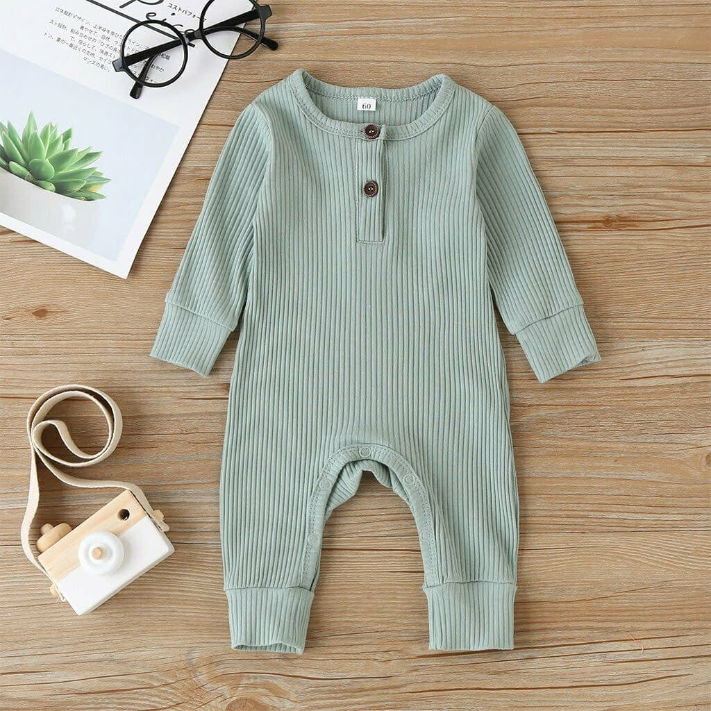baby girl or boy green cardigan style ribbed buttoned all in one romper suit