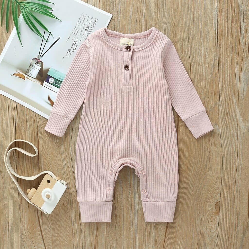 baby girl or boy pink cardigan style ribbed buttoned all in one romper suit