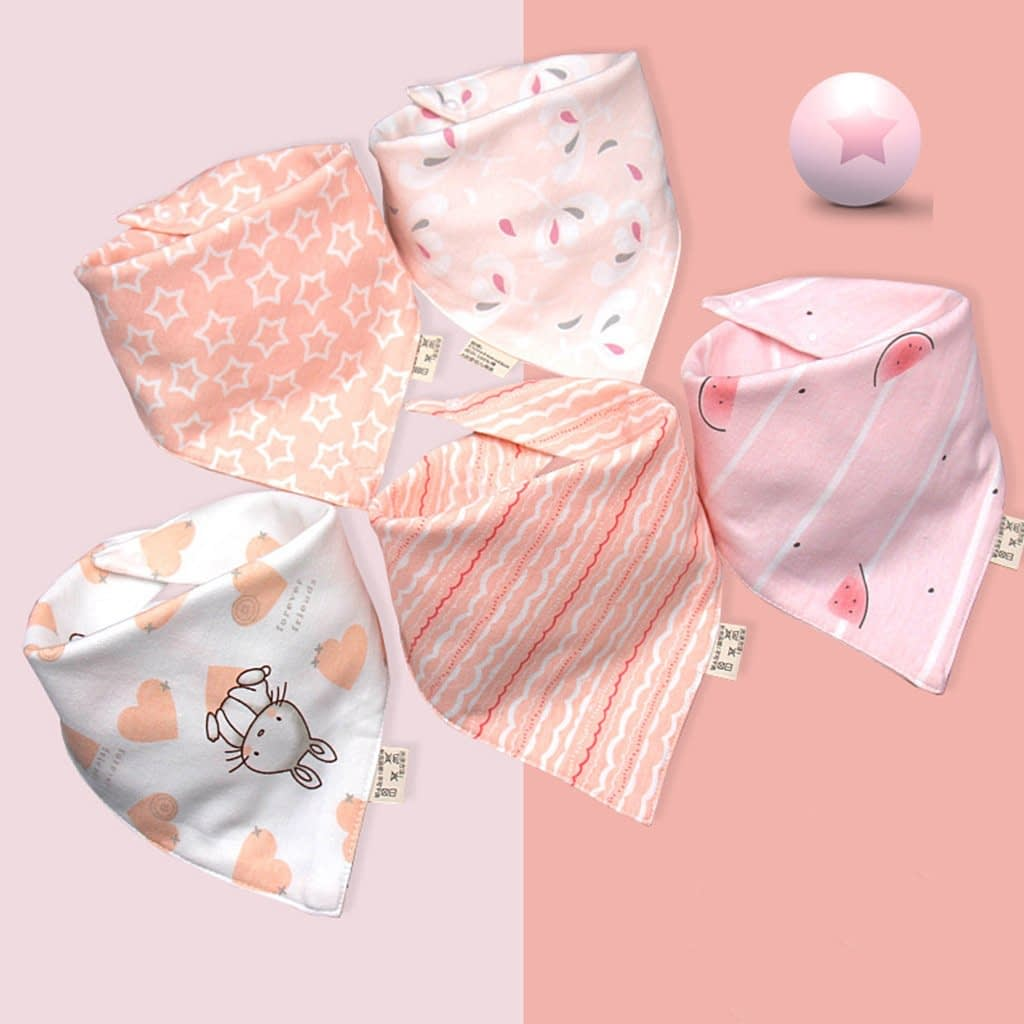 baby girls pink mutipack set of 5 bunny rabbit and watermelon theme neckerchief bibs
