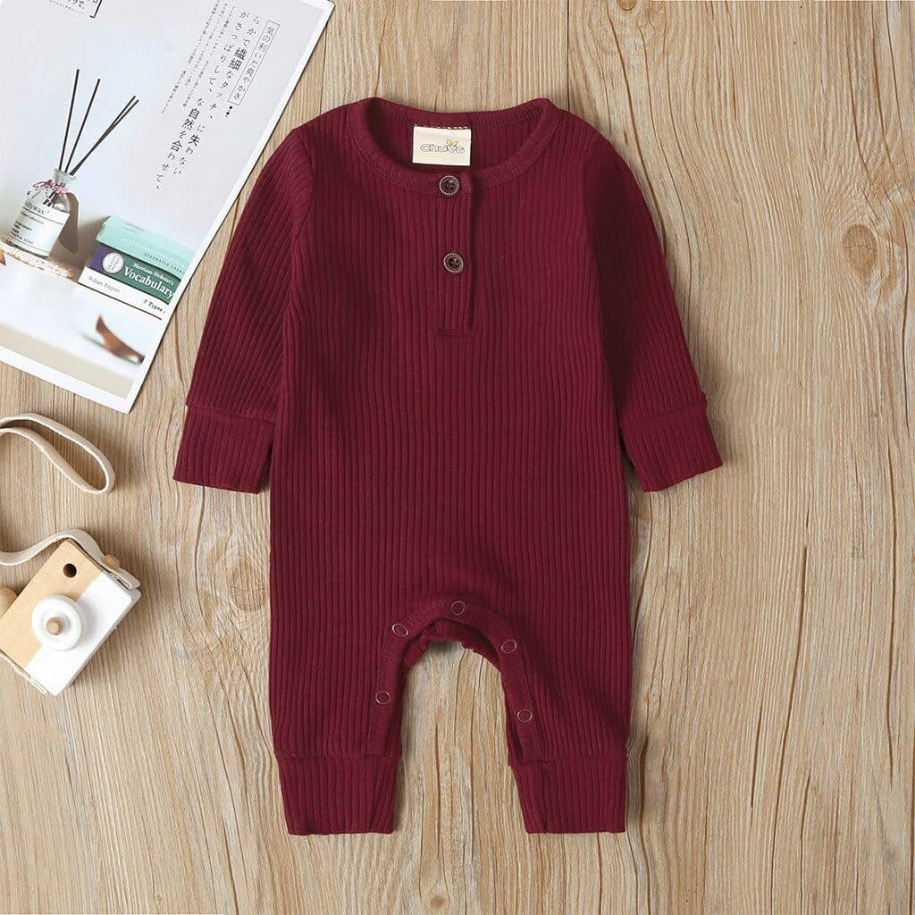 baby girl or boy red cotton cardigan style ribbed buttoned all in one romper suit