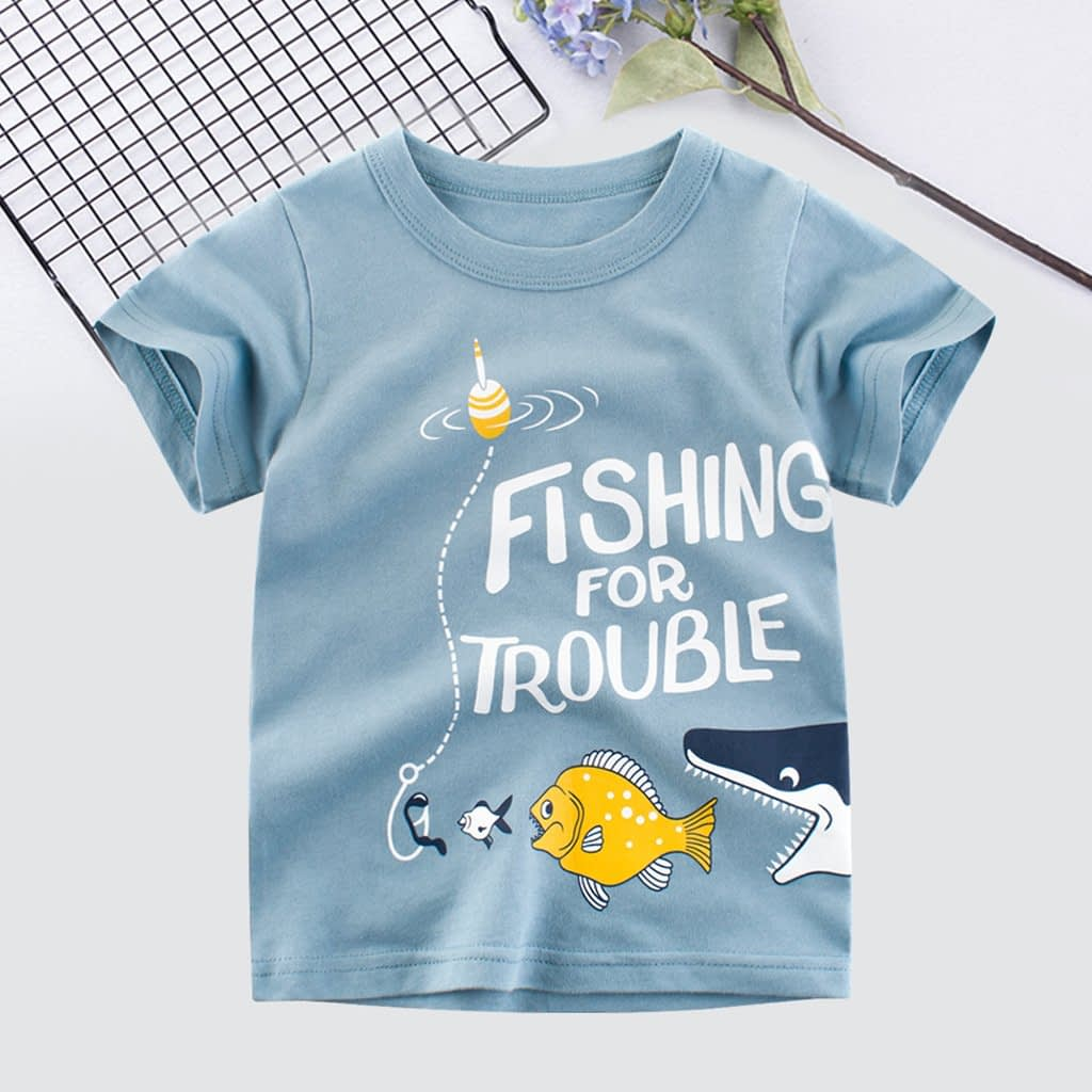 blue cotton fishing for trouble cartoon t-shirt for boys