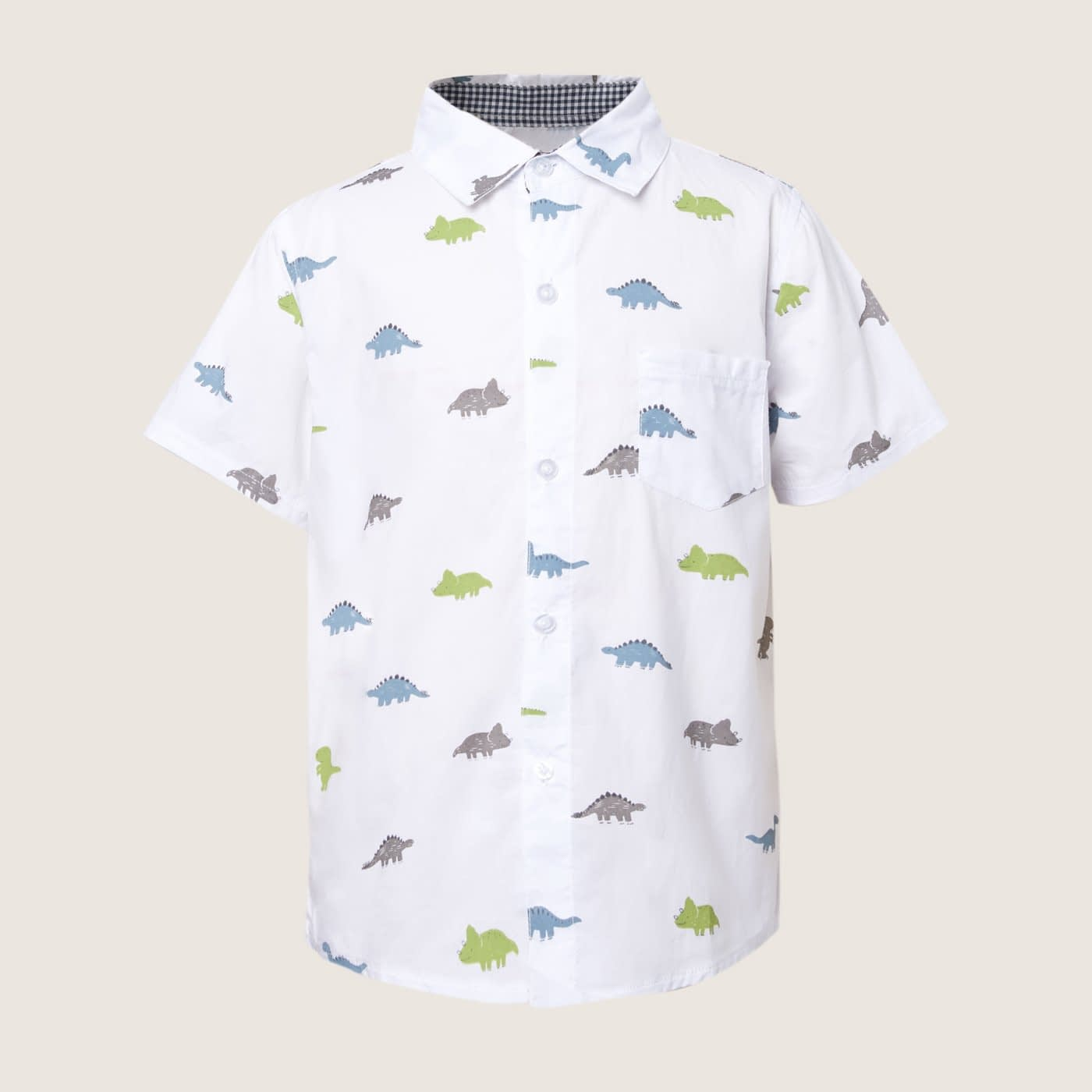 boys white dinosaur print short sleeve occasion shirt