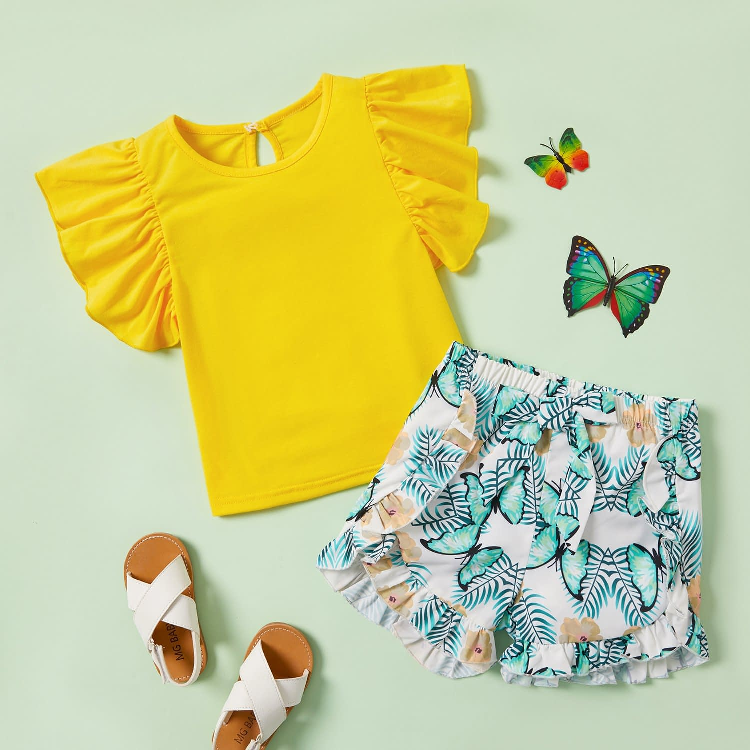 girls yellow frill sleeve top and blue print butterfly shorts matching outfit set