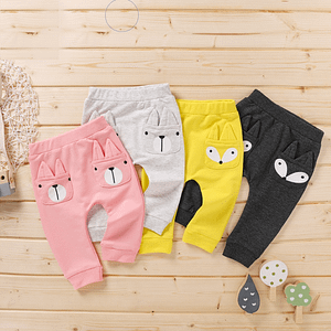 baby and toddler coloured animal face casual jogging bottoms with faces on the pockets