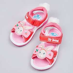 girls pink and red lilly bobtail peter rabbit sandals