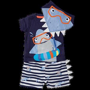 baby boys navy and grey shark t-shirt, shorts and bib outfit set