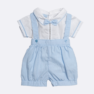 2 Piece Sky Blue Shorts Suit with Bow Tie