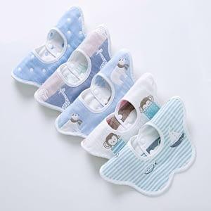 baby boy multipack set of 5 blue animal and nautical print 360 degrees rotating collar bibsbibs