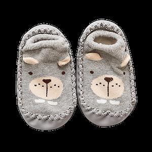 my first grey little bear slipper socks for newborns