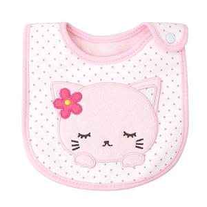 baby girls pink kitten bib