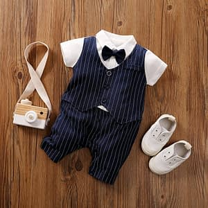 baby boys navy pinstripe 3 piece suit with white short sleeve shirt, shorts, waist coat and navy bow tie