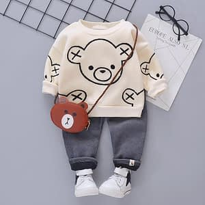 baby boys velour sweater and grey cord pants set
