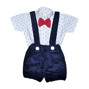 baby boys navy blue shirt and shorts occasion suit