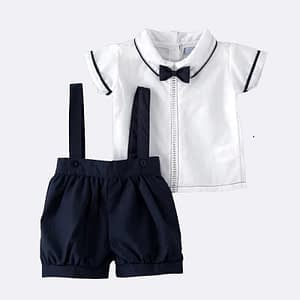 2 Piece Navy Blue Shorts Suit with Bow Tie