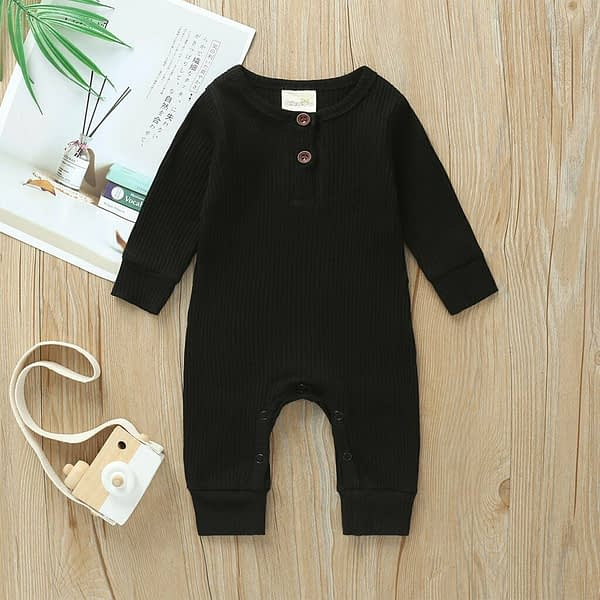 baby girl or boy black cardigan style ribbed buttoned all in one romper suit
