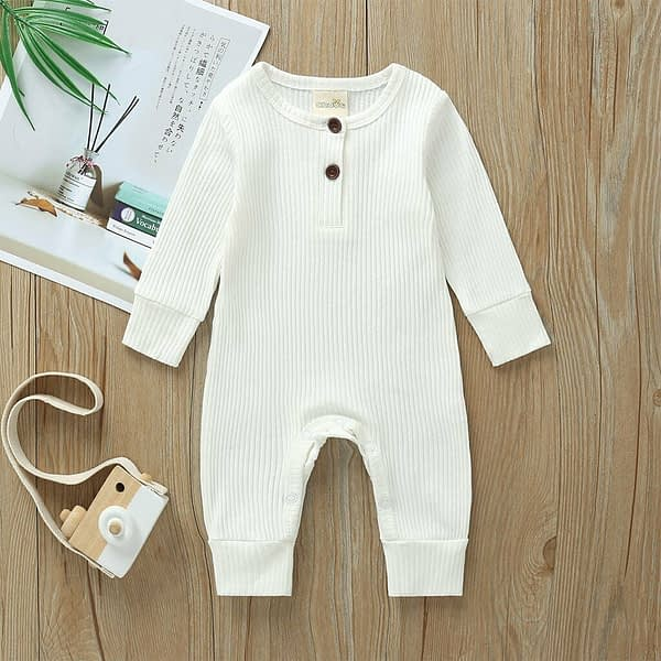 baby girl or boy white cardigan style ribbed buttoned all in one romper suit