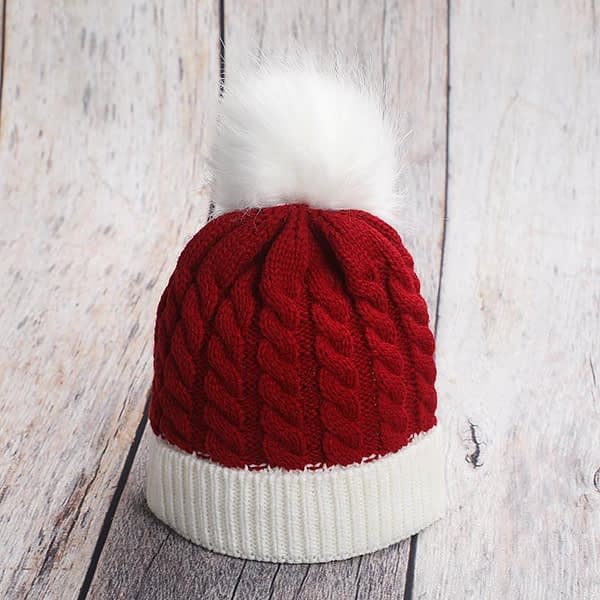babys and toddlers red and white christmas santa style knitted bobble hat