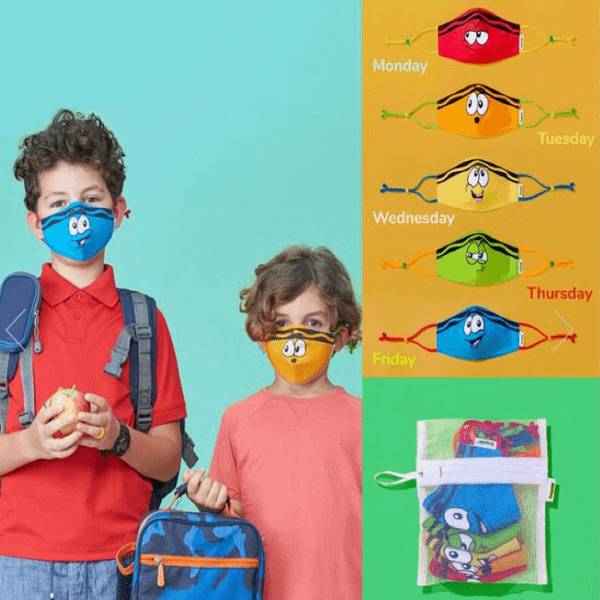 childrens bright multicoloured multipack of 5 facemasks with cartoon faces
