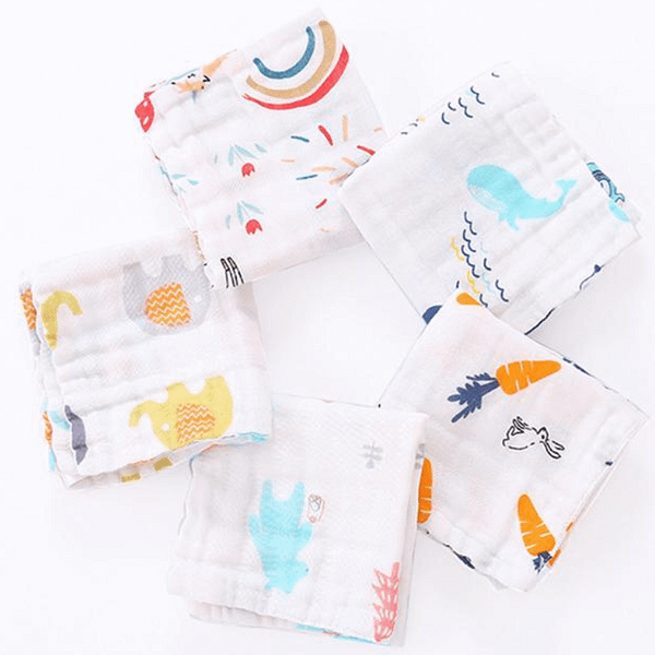 pack of 5 colourful print muslin squares for baby