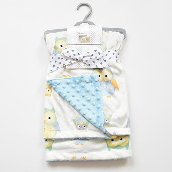 blue and white owl print cosy baby blanket