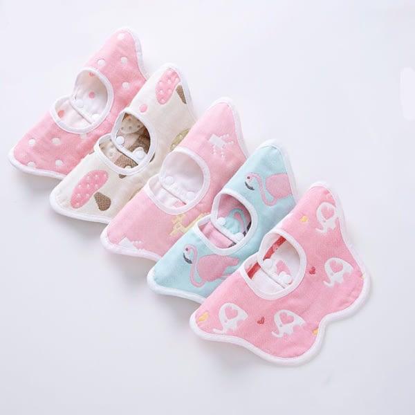 baby girls multipack set of 5 pink animal print 360 degrees rotating collar bibsbibs
