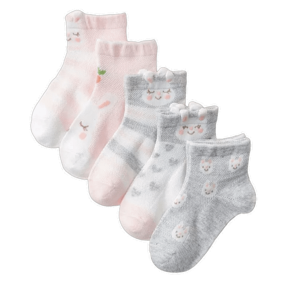 girls pack of 5 bunny rabbit pink and grey ankle socks