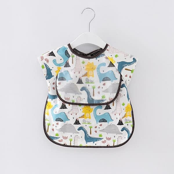 baby and toddler short sleeved blue dinosaur print weaning coverall apron bib