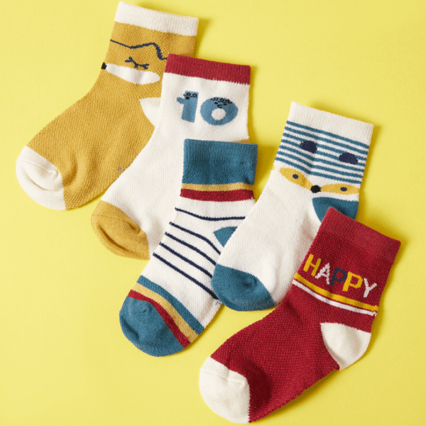 baby and kids fun multi-coloured stripe multi-pack of 5 ankle socks